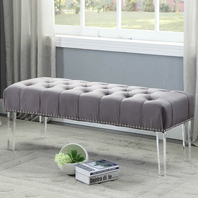 Sowers Upholstered Bench Upholstery Color: Grey