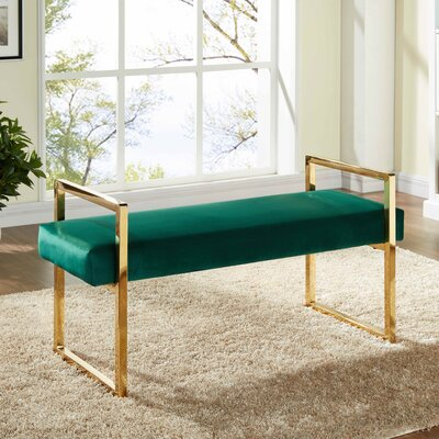 Elmwood Upholstered Bench Upholstery Color: Green