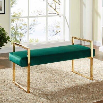 Elmwood Upholstered Bench Upholstery Color: Green