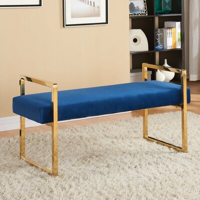 Elmwood Upholstered Bench Upholstery Color: Navy