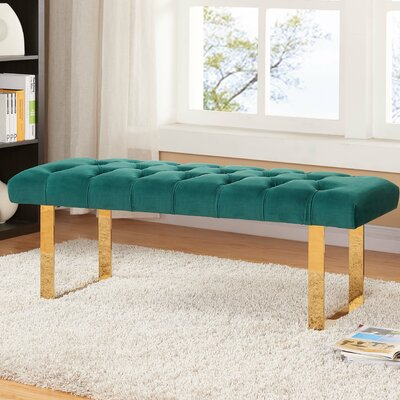 Briarwood Upholstered Bench Upholstery Color: Green