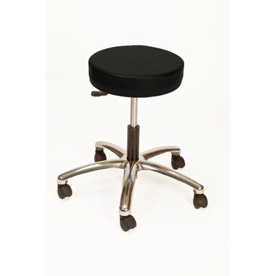 Height Adjustable Lab Stool with Duel Wheel Upholstery: Black