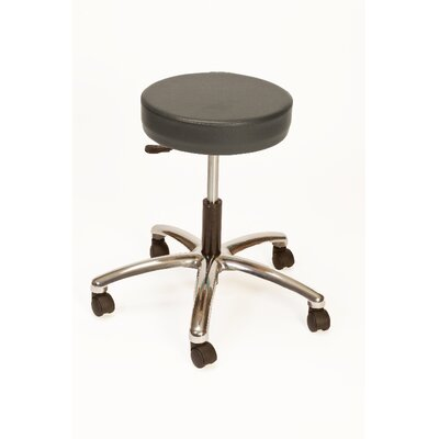 Height Adjustable Lab Stool with Duel Wheel Upholstery: Charcoal