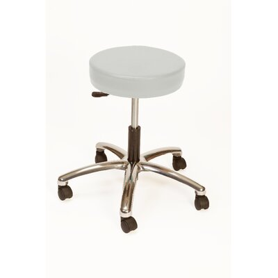 Height Adjustable Lab Stool with Duel Wheel Upholstery: Dove Gray