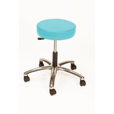 Height Adjustable Lab Stool with Duel Wheel Upholstery: Aqua