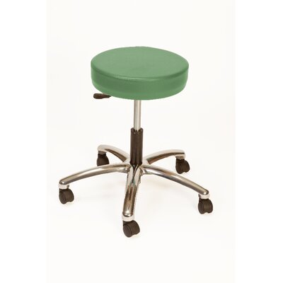 Height Adjustable Lab Stool with Duel Wheel Upholstery: Dusty Jade