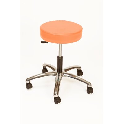 Height Adjustable Lab Stool with Duel Wheel Upholstery: Tangerine