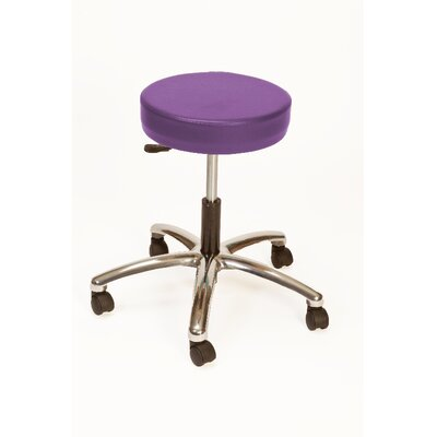 Height Adjustable Lab Stool with Duel Wheel Upholstery: Violet