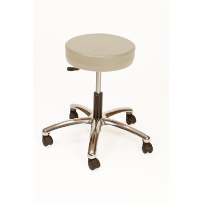 Height Adjustable Lab Stool with Duel Wheel Upholstery: Taupe