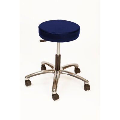 Height Adjustable Lab Stool with Duel Wheel Upholstery: Navy