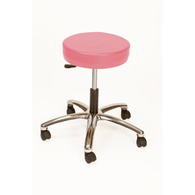 Height Adjustable Lab Stool with Duel Wheel Upholstery: Tea Rose
