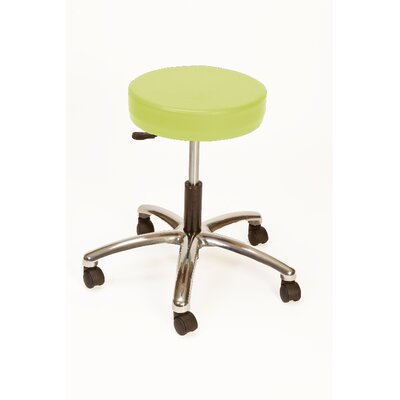 Height Adjustable Lab Stool with Duel Wheel Upholstery: Apple - Green