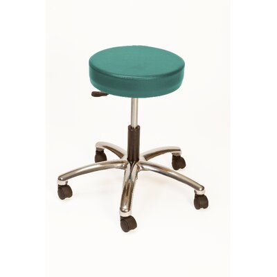 Height Adjustable Lab Stool with Duel Wheel Upholstery: Teal
