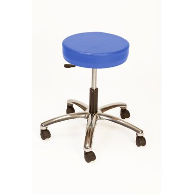 Height Adjustable Lab Stool with Duel Wheel Upholstery: Space Blue