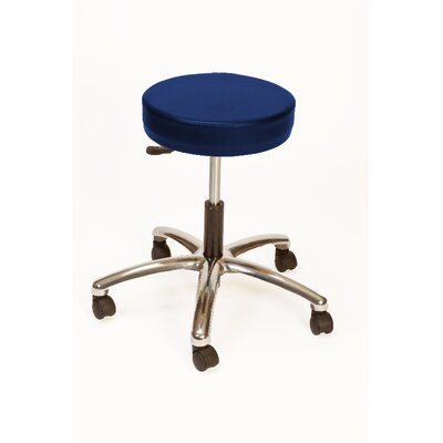 Height Adjustable Lab Stool with Duel Wheel Upholstery: Slate Blue