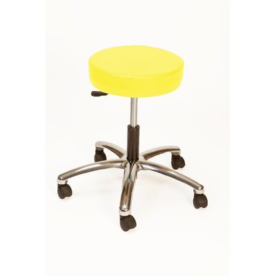 Height Adjustable Lab Stool with Duel Wheel Upholstery: Lemon