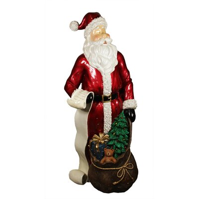 """48"""" Commercial Size Santa Claus with List and Gift Sack Christmas Display Decoration"""