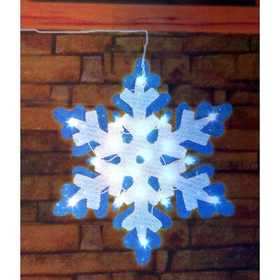 Lighted Tinsel Snowflake Christmas Window Silhouette Decoration