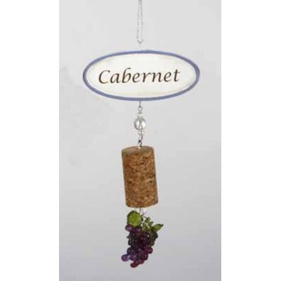 Cabernet Sign with Cork and Grapes Dangle Christmas Hanging Figurine