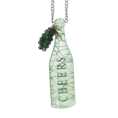 Cheers Wine Bottle with Grapes Tag Christmas Shaped Ornament