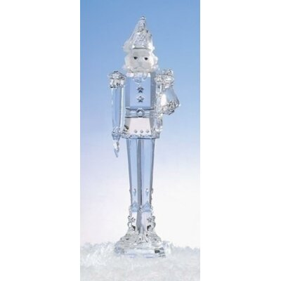 "11.75"" Icy Crystal Nutcracker Holding Trumpet Christmas Figure Decoration"