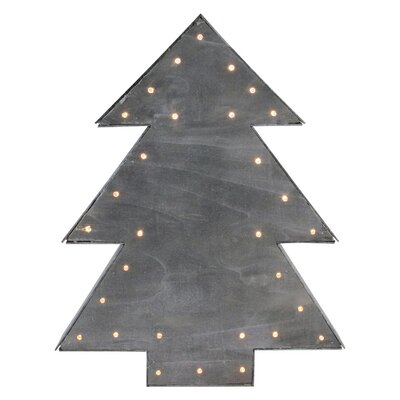 Lighted Wood Tree Christmas Table Top Decoration