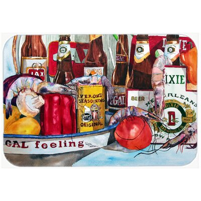 """Veron's and New Orleans Beers Kitchen/Bath Mat Size: 24"""" H x 36"""" W x 0.25"""" D"""