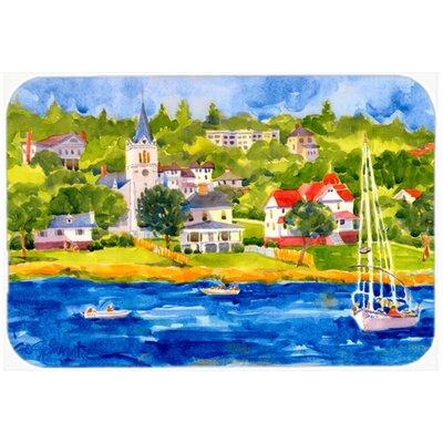 "Harbour Scene with Sailboat Kitchen/Bath Mat Size: 24"" H x 36"" W x 0.25"" D"