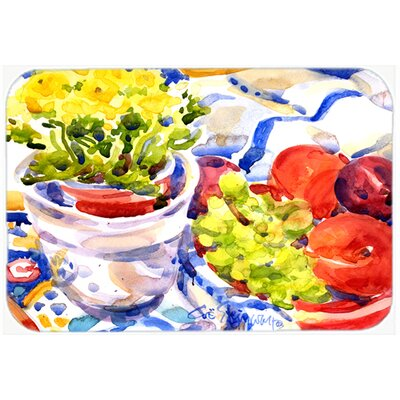 """Apples, Plums and Grapes with Flowers Kitchen/Bath Mat Size: 20"""" H x 30"""" W x 0.25"""" D"""