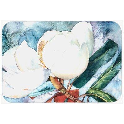 "Flower Magnolia Kitchen/Bath Mat Size: 24"" H x 36"" W x 0.25"" D"