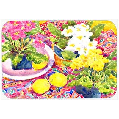"Flower Primroses Kitchen/Bath Mat Size: 24"" H x 36"" W x 0.25"" D"