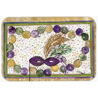 "Mardi Gras Beads Kitchen/Bath Mat Size: 24"" H x 36"" W x 0.25"" D"
