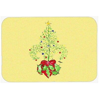 "Christmas Tree Fleur De Lis Kitchen/Bath Mat Size: 24"" H x 36"" W x 0.25"" D"