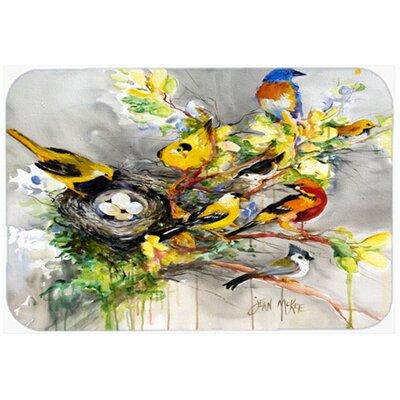 "Spring Birds Kitchen/Bath Mat Size: 20"" H x 30"" W x 0.25"" D"