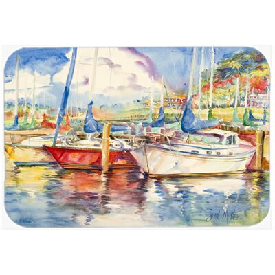 "Three Boats Sailboats Kitchen/Bath Mat Size: 24"" H x 36"" W x 0.25"" D"