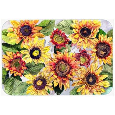 "Sunflowers Kitchen/Bath Mat Size: 20"" H x 30"" W x 0.25"" D"