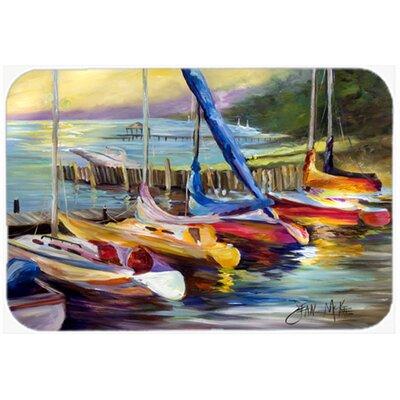 "Sailboats At Sunset Kitchen/Bath Mat Size: 24"" H x 36"" W x 0.25"" D"