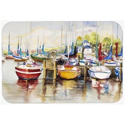 "Paradise Yacht Club Ii Sailboats Kitchen/Bath Mat Size: 24"" H x 36"" W x 0.25"" D"