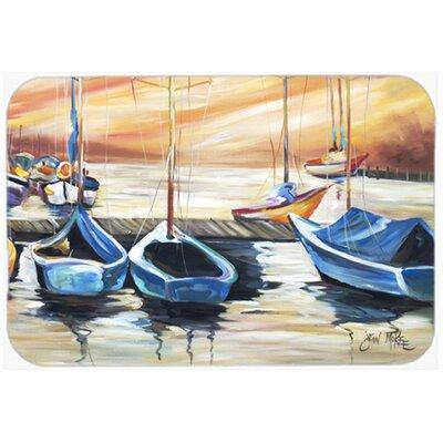 """Beach View with Sailboats Kitchen/Bath Mat Size: 24"""" H x 36"""" W x 0.25"""" D"""
