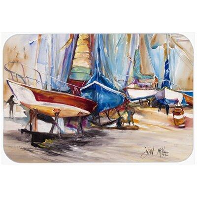 "On The Hill Sailboats Kitchen/Bath Mat Size: 20"" H x 30"" W x 0.25"" D"