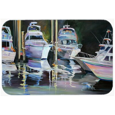 "Deep Sea Fishing Boats Kitchen/Bath Mat Size: 24"" H x 36"" W x 0.25"" D"