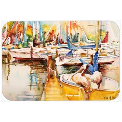 "Sailboat with Pelican Golden Days Kitchen/Bath Mat Size: 24"" H x 36"" W x 0.25"" D"
