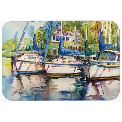 "Safe Harbour Sailboats Kitchen/Bath Mat Size: 24"" H x 36"" W x 0.25"" D"