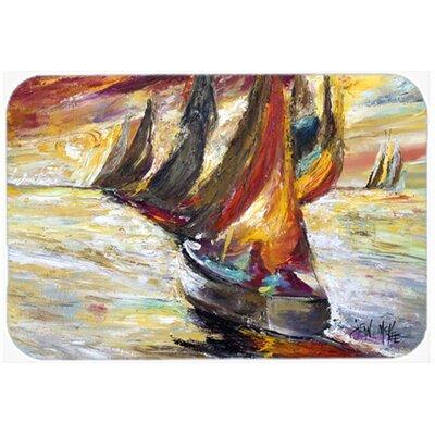 "Sails Sailboat Kitchen/Bath Mat Size: 20"" H x 30"" W x 0.25"" D"