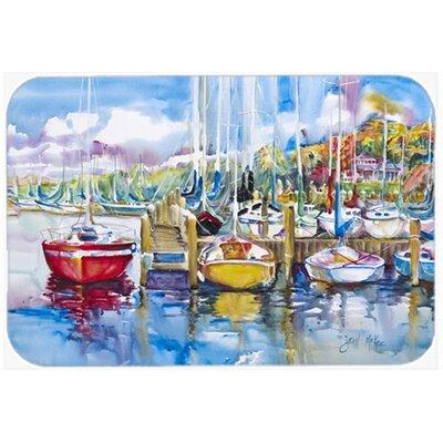 "Paradise Yacht Club Sailboats Kitchen/Bath Mat Size: 20"" H x 30"" W x 0.25"" D"