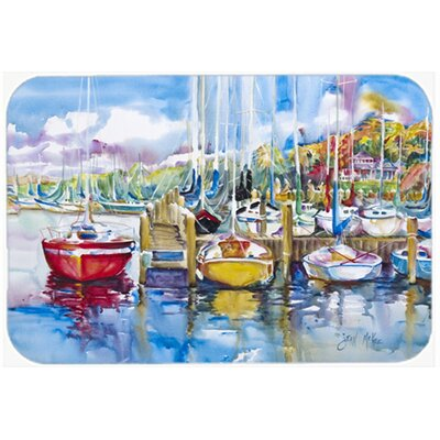 "Paradise Yacht Club Sailboats Kitchen/Bath Mat Size: 24"" H x 36"" W x 0.25"" D"