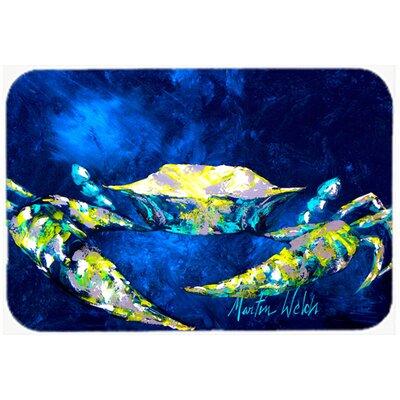 "Crab Tealy Kitchen/Bath Mat Size: 20"" H x 30"" W x 0.25"" D"