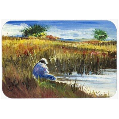 """Fisherman on The Bank Kitchen/Bath Mat Size: 24"""" H x 36"""" W x 0.25"""" D"""