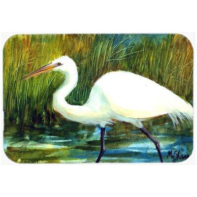 "Bird Egret Kitchen/Bath Mat Size: 24"" H x 36"" W x 0.25"" D"