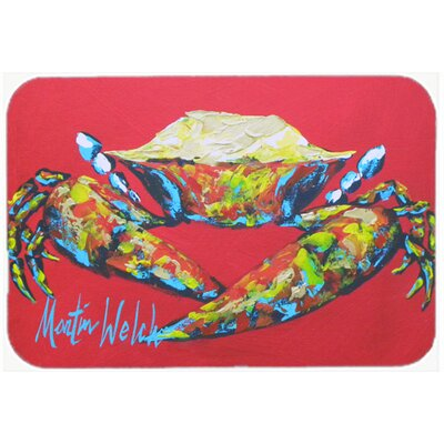 "Crab Seafood One Kitchen/Bath Mat Size: 20"" H x 30"" W x 0.25"" D"